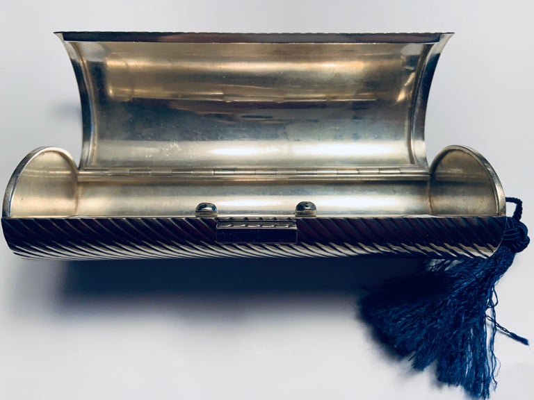 1970's Gucci Sterling Silver Minaudiere with Lapis Clasp and Blue Silk Tassel For Sale 2