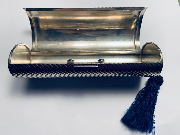1970's Gucci Sterling Silver Minaudiere with Lapis Clasp and Blue Silk Tassel For Sale 3