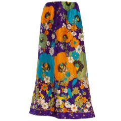 1970S GUCCI Style Purple Quilted Acetate Mod Floral Printed Maxi Skirt