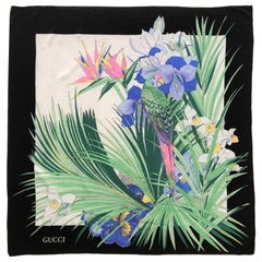 1970s Gucci Tropical Exotic Parrot Print Silk Scarf