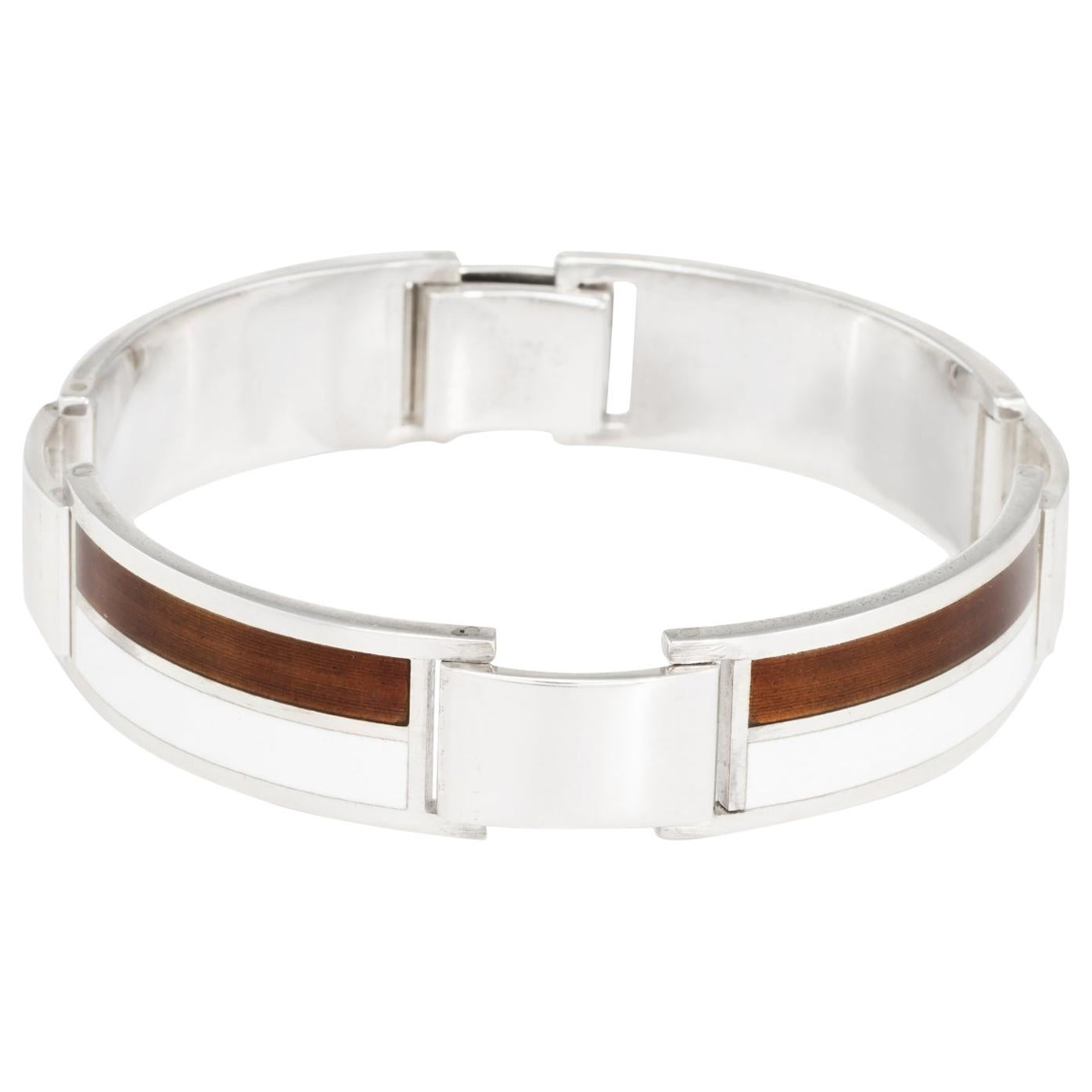 1970s Gucci Vintage Enamel Sterling Silver Bracelet Brown White Signed Jewelry