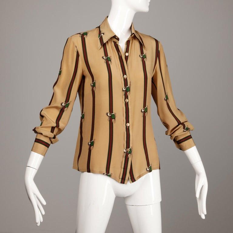 Beige 1970s Gucci Vintage Silk Equestrian Blouse For Sale