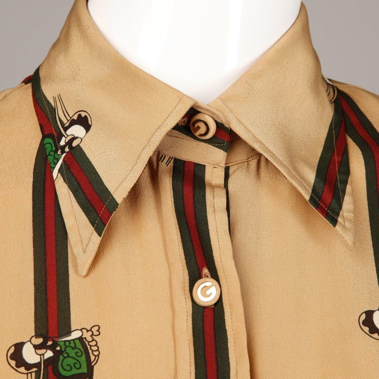 1970s Gucci Vintage Silk Equestrian Blouse In Excellent Condition For Sale In Sparks, NV