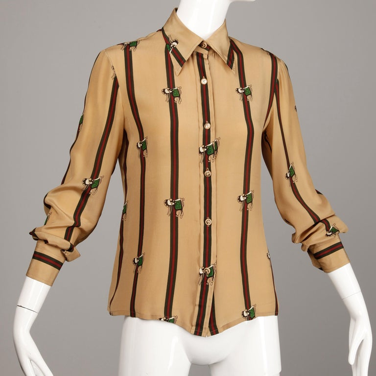 1970s Gucci Vintage Silk Equestrian Blouse For Sale 1
