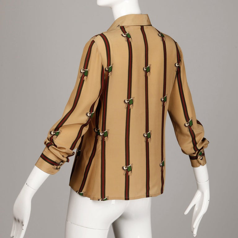 1970s Gucci Vintage Silk Equestrian Blouse For Sale 3