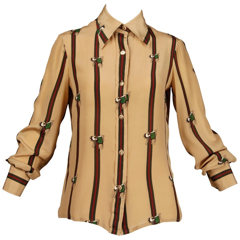 1970s Gucci Vintage Silk Equestrian Blouse For Sale