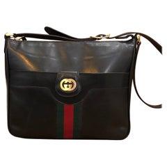 1970s GUCCI Web Black Leather Shoulder Bag Unisex