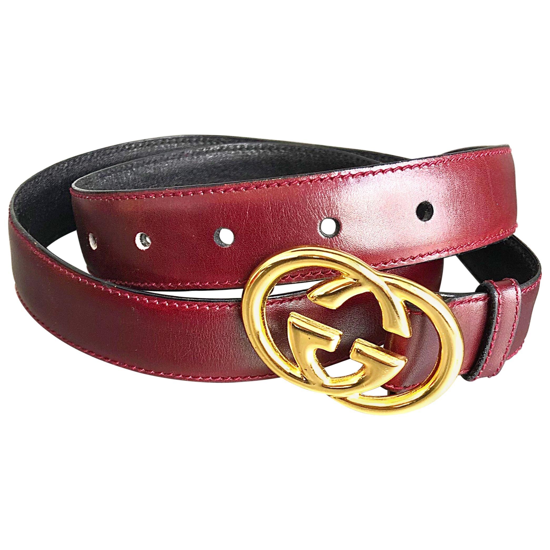 1970s Gucci Women's Cordovan Burgundy Gold GG Logo Vintage 70s Thin Leather Belt