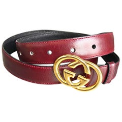 1970s Gucci Women's Cordovan Burgundy Gold GG Logo Vintage 70s Thin Leather Belt