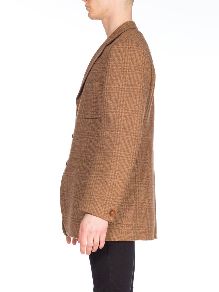 Brown 1970S GUCCI Wool Plaid Men's Tweed Blazer With Embossed Logo Leather Buttons For Sale