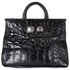 1970s Guido Borelli Black Crocodile Skin Bag