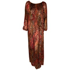 1970's Gump's Dress Ombre Voided Velvet on Chiffon with Gold and Silver Accents