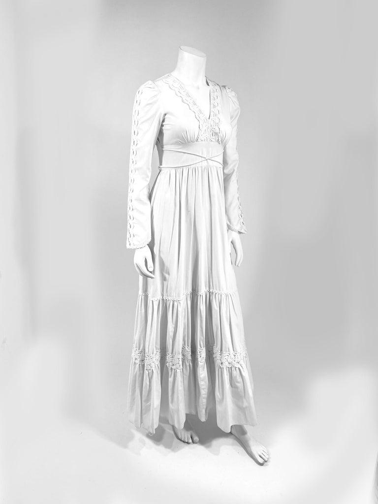 Gray 1970s Gunne Sax Cotton Dress with Crochet Trim For Sale