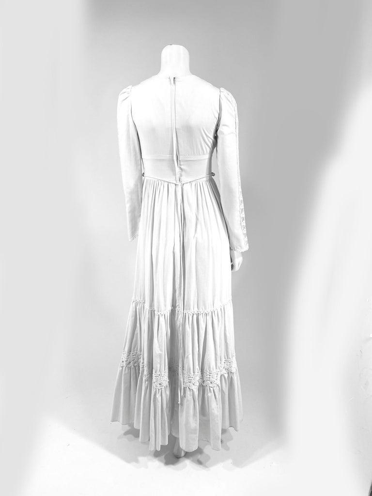 Women's 1970s Gunne Sax Cotton Dress with Crochet Trim For Sale