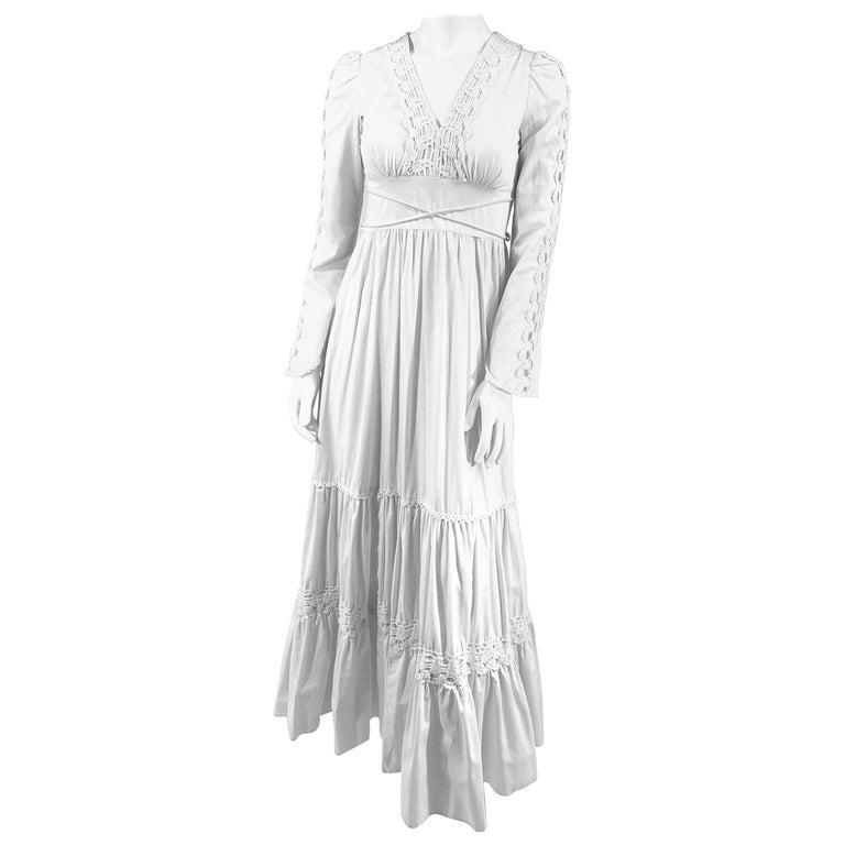1970s Gunne Sax Cotton Dress with Crochet Trim For Sale
