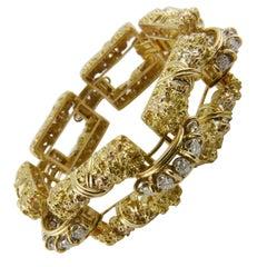 1970s Gutschneider Yellow Gold and Diamond Bracelet