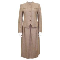 1970's Guy Laroche Brown Plaid Skirt Suit