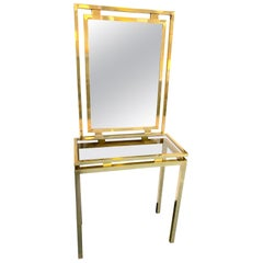 1970s Guy Lefevre Style Gilt Metal Console and Matching Mirror