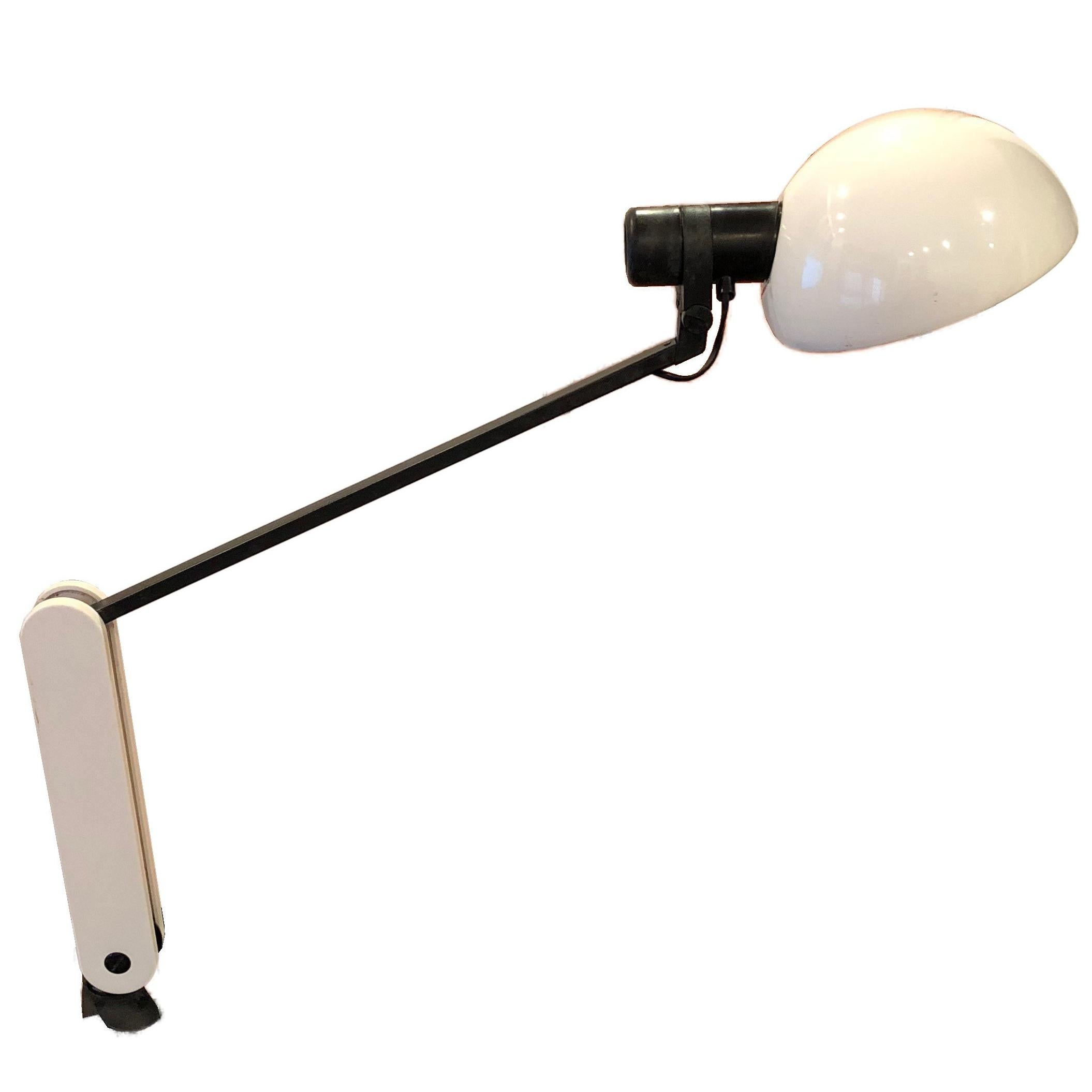 1970s Guzzini White and Black Desk Lamp with Movable Base, Mid-Century Modern