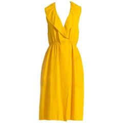 1970S Halston Yellow Rayon & Silk Wrap Dress With Pockets XL