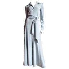 1970s Halston Baby Blue Cashmere Maxi Dress