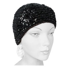 1970s Halston Black Sequin Knit Skull Cap