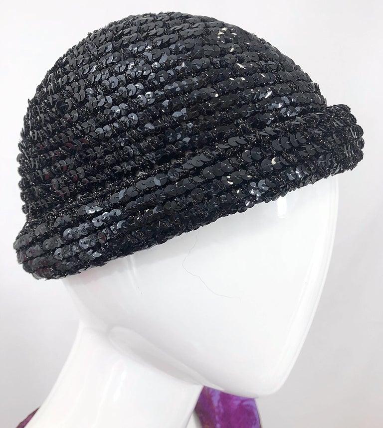 1970s Halston Black Sequin Lurex Knit Vintage 70s Disco Beanie Skull Hat For Sale 6