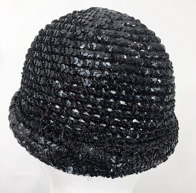 1970s Halston Black Sequin Lurex Knit Vintage 70s Disco Beanie Skull Hat For Sale 7