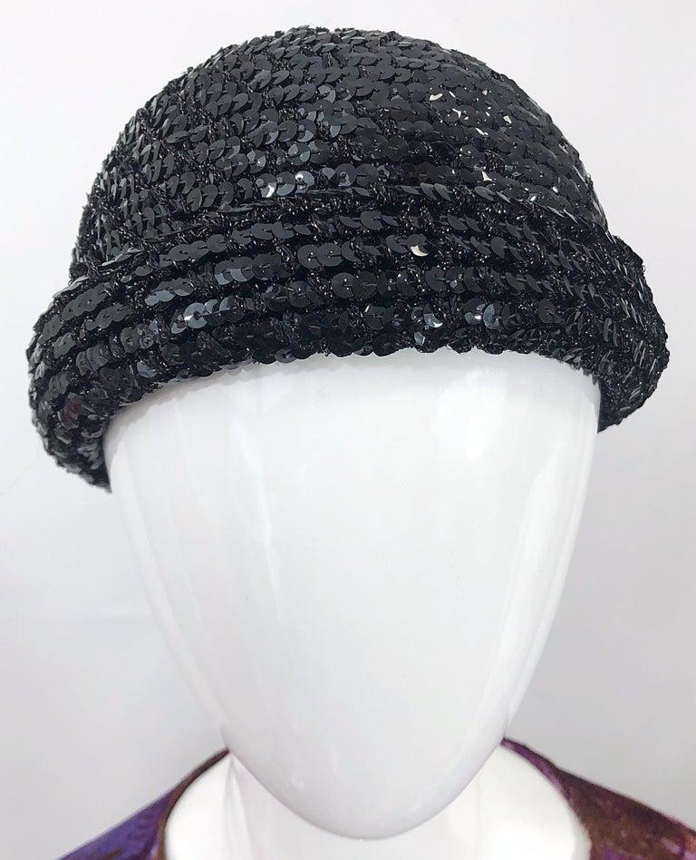 1970s Halston Black Sequin Lurex Knit Vintage 70s Disco Beanie Skull Hat For Sale 8