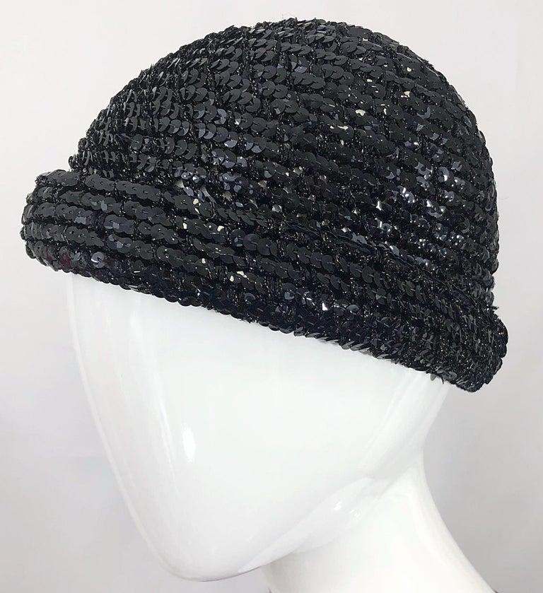 1970s Halston Black Sequin Lurex Knit Vintage 70s Disco Beanie Skull Hat For Sale 9