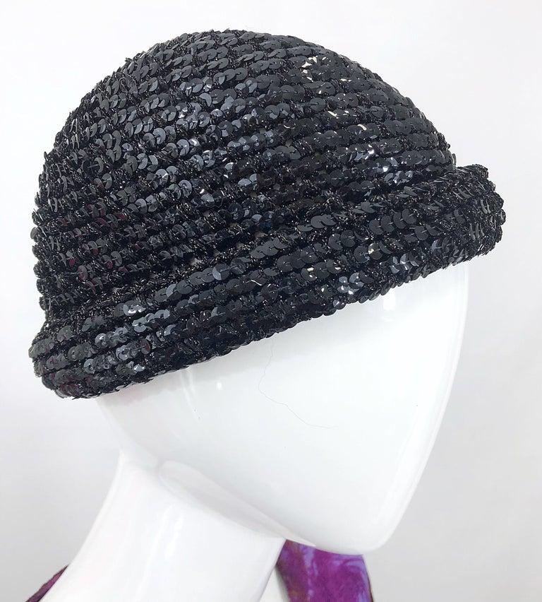 Women's 1970s Halston Black Sequin Lurex Knit Vintage 70s Disco Beanie Skull Hat For Sale