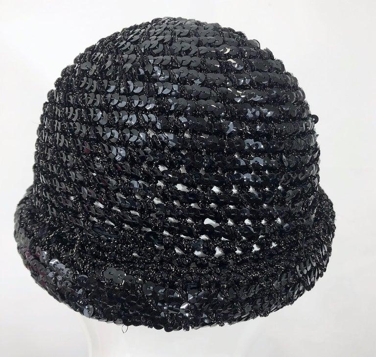 1970s Halston Black Sequin Lurex Knit Vintage 70s Disco Beanie Skull Hat For Sale 1