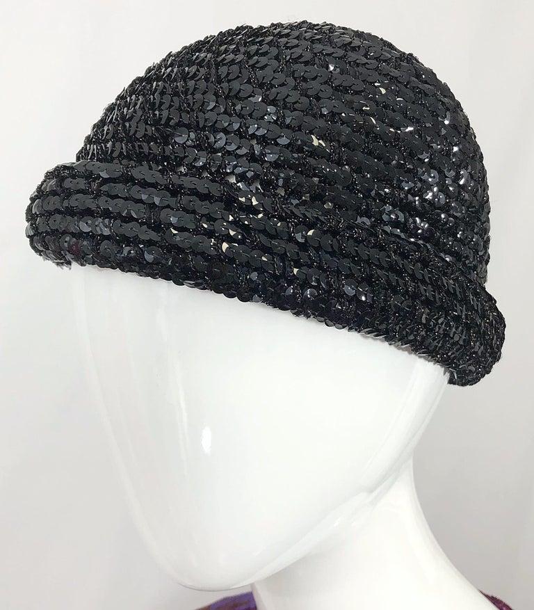 1970s Halston Black Sequin Lurex Knit Vintage 70s Disco Beanie Skull Hat For Sale 2
