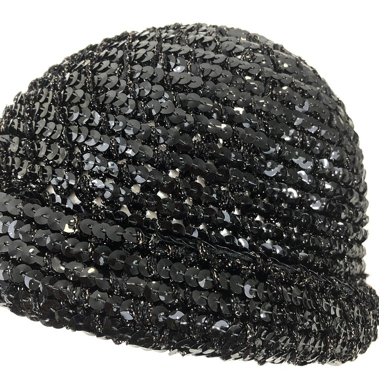 1970s Halston Black Sequin Lurex Knit Vintage 70s Disco Beanie Skull Hat For Sale 3