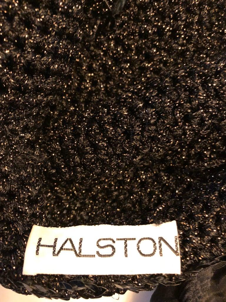 1970s Halston Black Sequin Lurex Knit Vintage 70s Disco Beanie Skull Hat For Sale 4