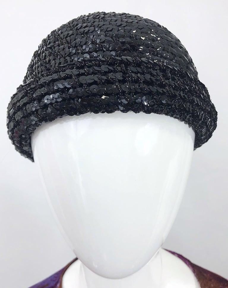 1970s Halston Black Sequin Lurex Knit Vintage 70s Disco Beanie Skull Hat For Sale 5