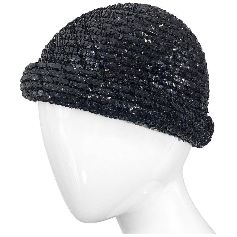 1970s Halston Black Sequin Lurex Knit Vintage 70s Disco Beanie Skull Hat For Sale