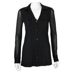 1970s Halston Black Sheer Jersey Button Down Shirt