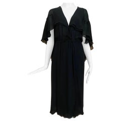 1970s HALSTON Black Silk Chiffon Wrap Dress