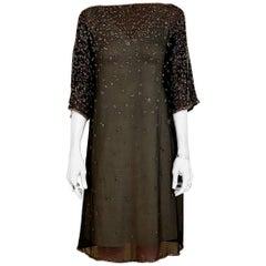 1970s HALSTON Black Silk Dress with Beads