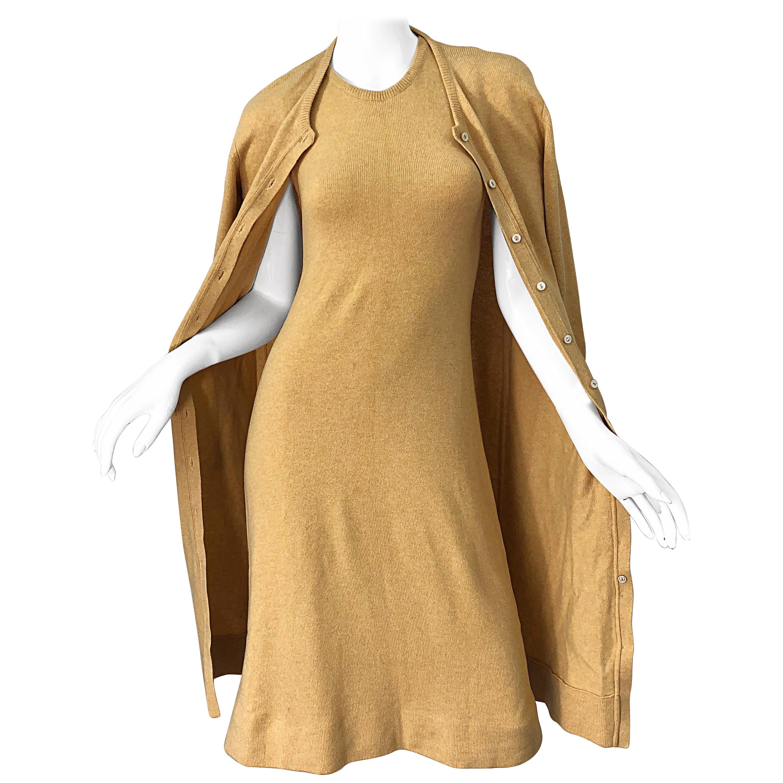1970s HALSTON Cashmere Camel Tan 70s Vintage Dress and Cardigan Sweater Jacket