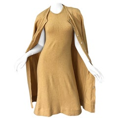 1970s HALSTON Cashmere Camel Tan 70s Vintage Dress and Cardigan Sweater Jacket