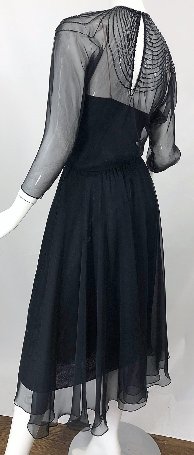 1970s Halston Couture Black Silk Chiffon Beaded Long Sleeve Vintage 70s Dress For Sale 3