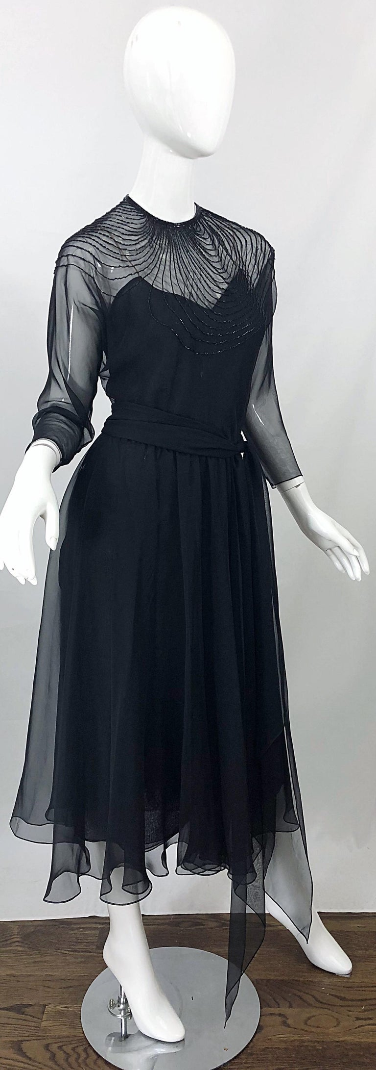1970s Halston Couture Black Silk Chiffon Beaded Long Sleeve Vintage 70s Dress For Sale 7