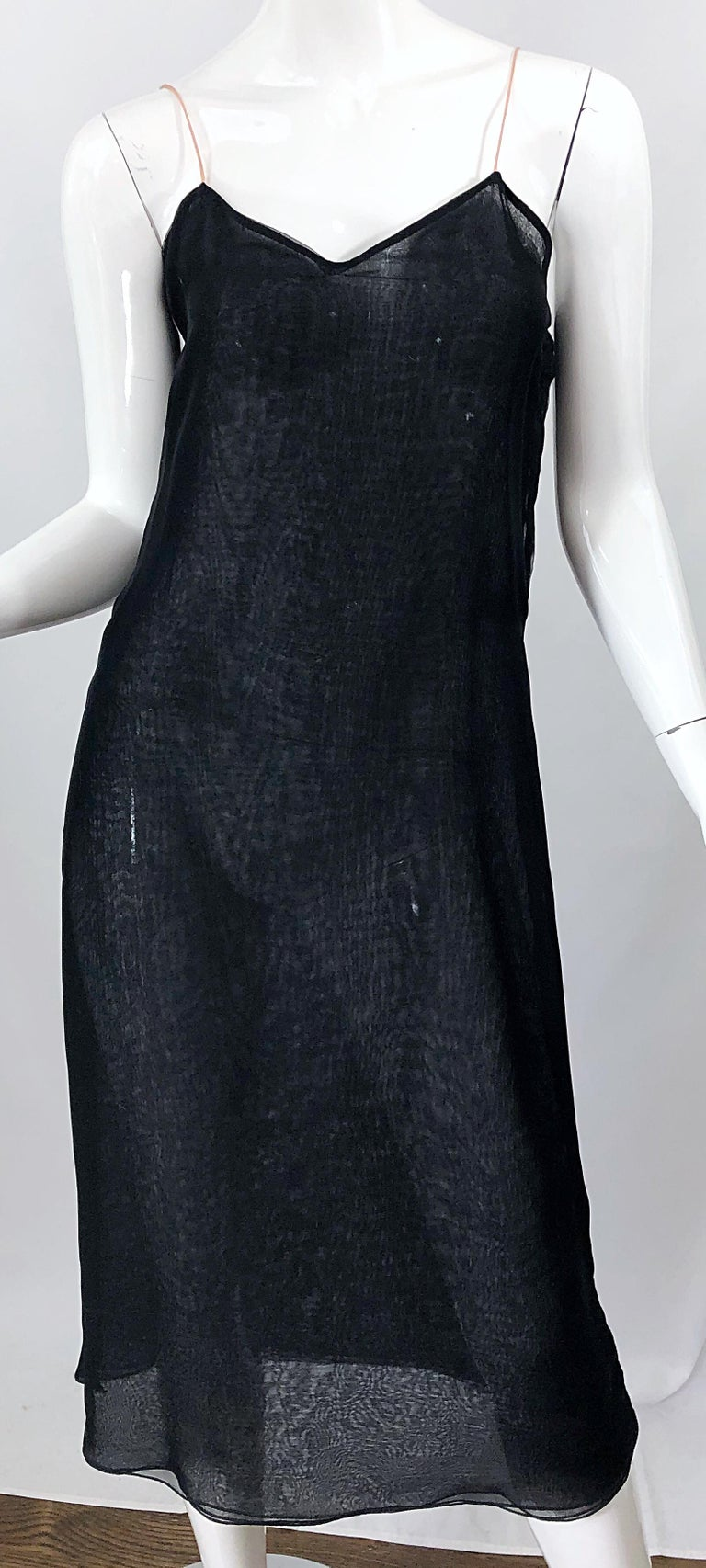 1970s Halston Couture Black Silk Chiffon Beaded Long Sleeve Vintage 70s Dress For Sale 5
