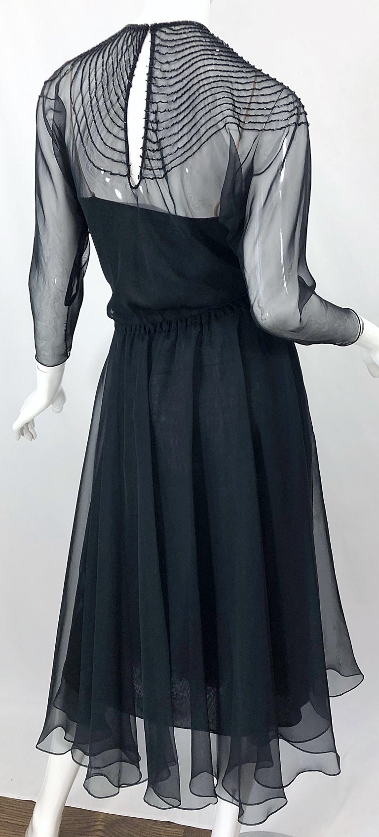 1970s Halston Couture Black Silk Chiffon Beaded Long Sleeve Vintage 70s Dress For Sale 6