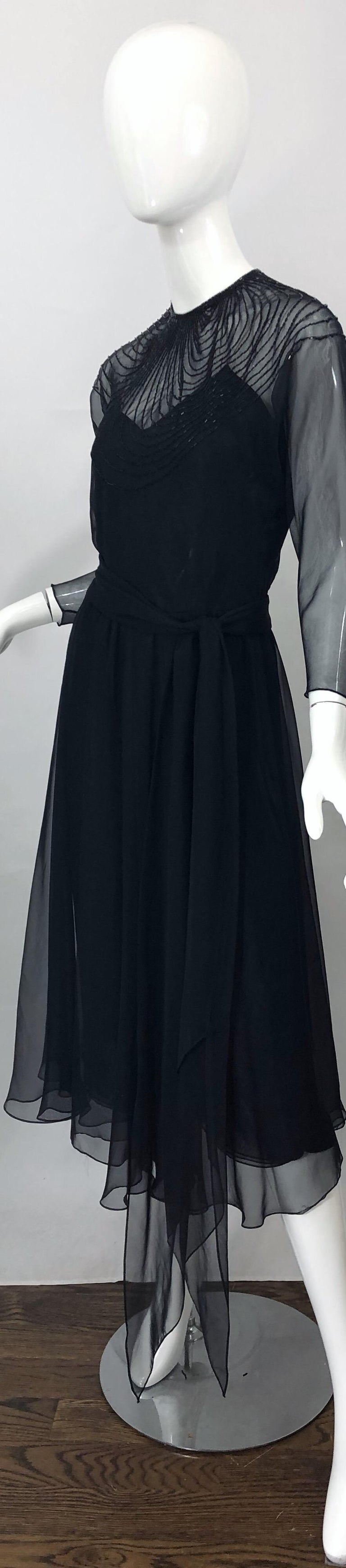 1970s Halston Couture Black Silk Chiffon Beaded Long Sleeve Vintage 70s Dress For Sale 10