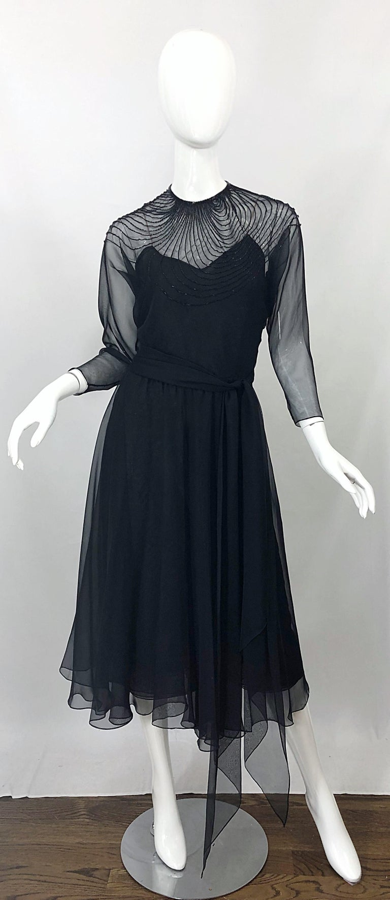 1970s Halston Couture Black Silk Chiffon Beaded Long Sleeve Vintage 70s Dress For Sale 11