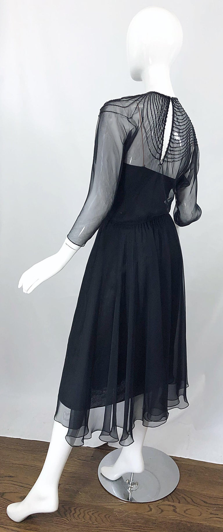 1970s Halston Couture Black Silk Chiffon Beaded Long Sleeve Vintage 70s Dress For Sale 8