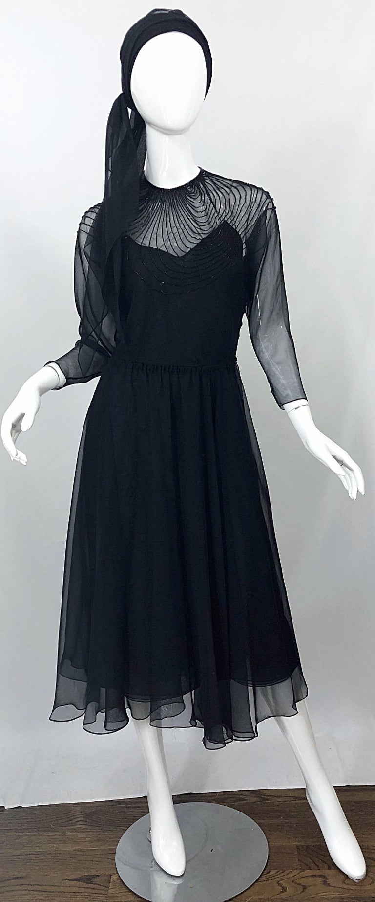 1970s Halston Couture Black Silk Chiffon Beaded Long Sleeve Vintage 70s Dress For Sale 12